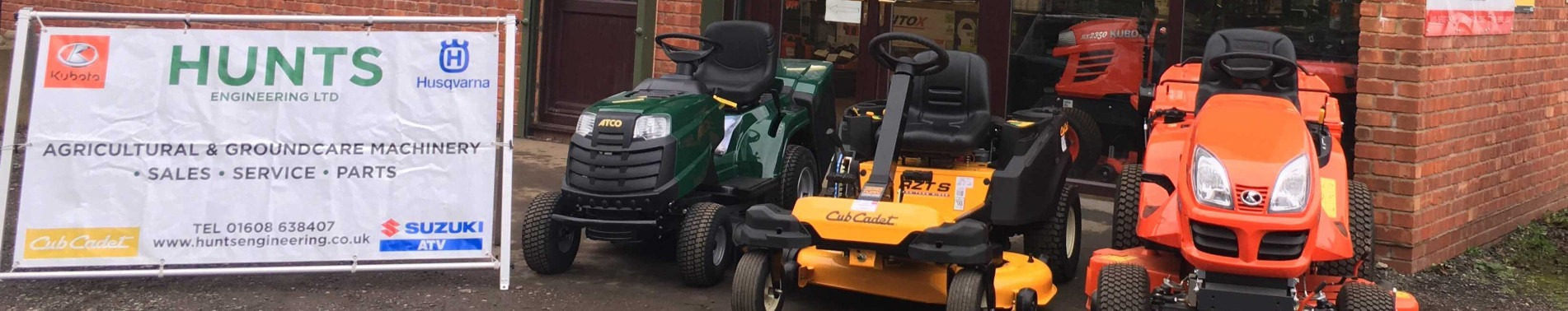Hunts Engineering Advertising Board and Ride-on Mowers